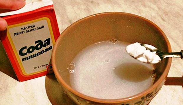 Сода разводится водой