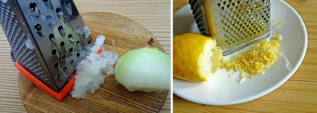 луковицу и лимон натирают на терке