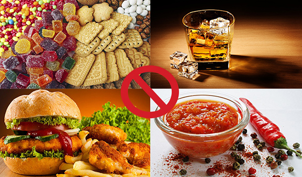 Нерекомендуемые продукты питания